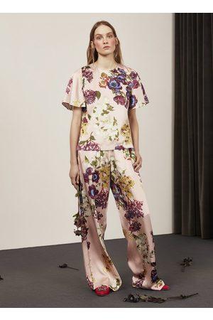 Alice Archer Hilary Bouquet Silk Trousers