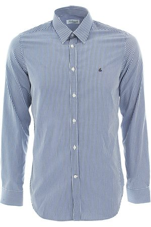 LEATHERSMITH OF LONDON Navy/Ivory check shirt