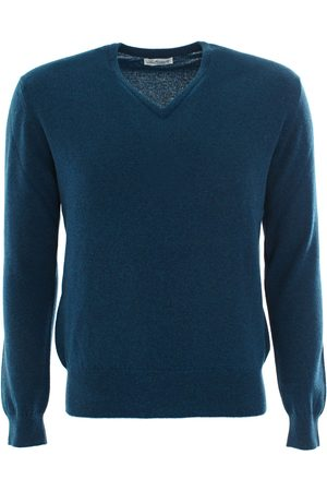 LEATHERSMITH OF LONDON Teal cashmere vee neck sweater