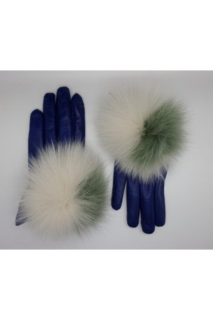 Maison Fabre Leather gloves with fur PomPom