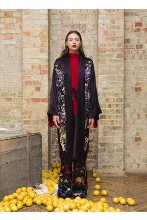 Alice Archer Gianna Silk Embroidered Long Kimono