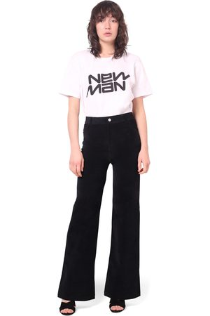 New Man Velvet Stretch Flared Jean Trousers
