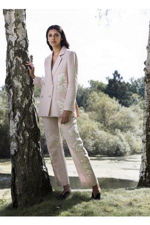 Alice Archer Gemma Silk Linen Embroidered Trousers