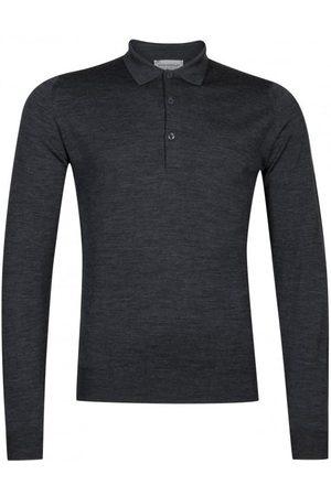 JOHN SMEDLEY Belper 100% Wool Long Sleeve Polo - Charcoal
