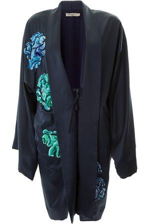 Alice Archer Elfreida Silk Short Kimono - Navy