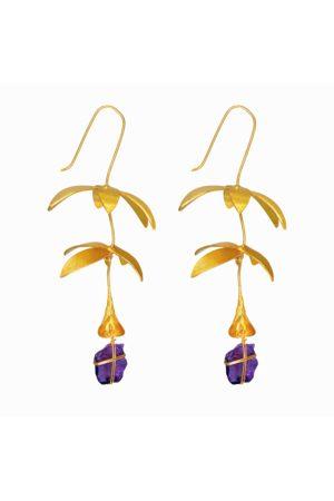 Dinari Jewels Floral Chandelier Amethyst Earrings