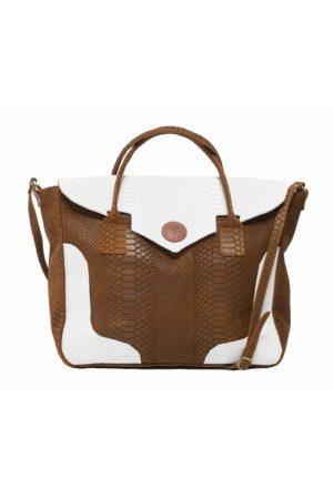 KGW Studio And white python-effect natural leather handbag