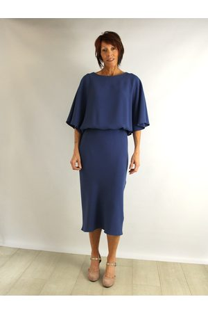 Roisin Linnane Melissa Batwing Knee Dress in Air Force