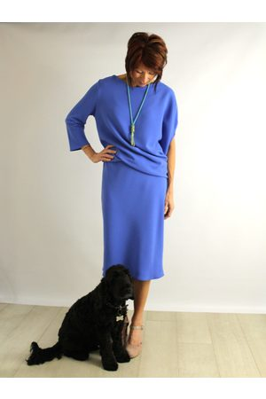 Roisin Linnane Clara Drape Dress with One Sleeve in Azzure