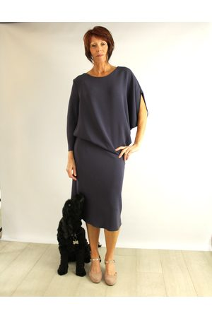 Roisin Linnane Clara Drape Dress with One Sleeve in Slate