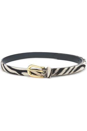 Anderson's ANDERSONS Zebra Pony Hair Skinny Belt -Zebra