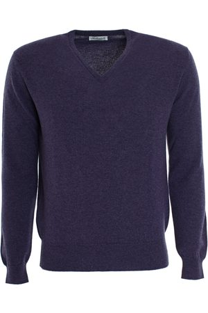 LEATHERSMITH OF LONDON Cashmere Vee Neck Sweater - Blackberry