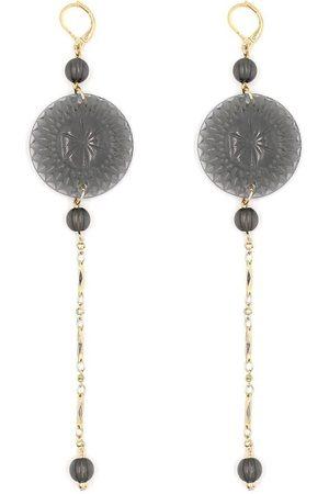 Douglaspoon Long String Disc Earrings in Grey