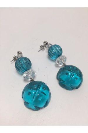 Douglaspoon Multi Shape Stud Earrings in Clear + Turquoise