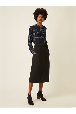 Great Plains Agnes Check Tie Neck Shirt in Space Navy