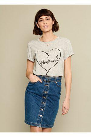 South Parade Lola Weekend Heart T Shirt - Light Heather Grey