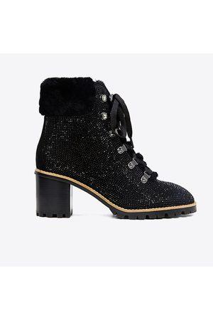 Lola Cruz Swarovski Crystals Hiking Ankle Boots