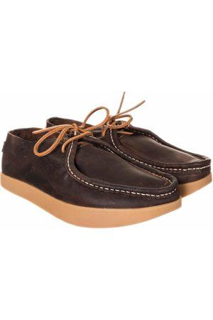 Yogi Footwear Willard Tumbled Leather Negative Heel Shoes - Dark