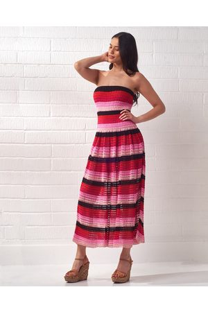 CECILIA PRADO Striped Knit Bandeau Midi Dress
