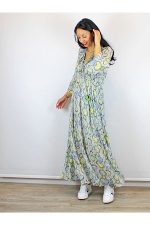 Conditions Apply Long Sleeve Maxi Dress Snake Print