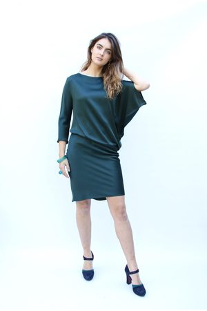 Roisin Linnane Clara Dress with One Sleeve in Dark