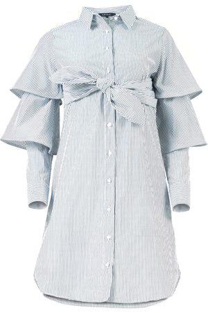Azulu Wing Button Up Tiered Sleeve Shirt Dress