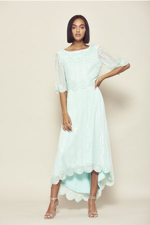 Frock and Frill Daevy Duck Egg Dipped Hem Embellished Midi Dress