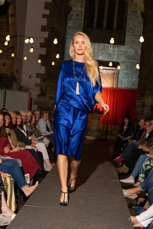 Roisin Linnane Clara Drape Dress with One Sleeve in Prada