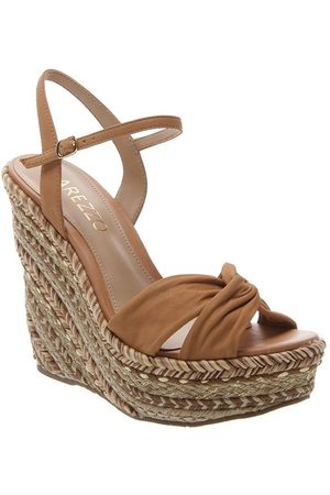 Arezzo Tan Suede Braided Wedges