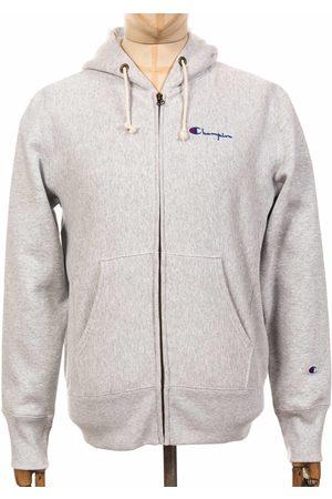 Champion Reverse Weave Script Logo Zip Hooded Sweatshirt - LOXGM Light