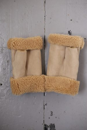Toasties Camel Shearling Fingerless Mittens