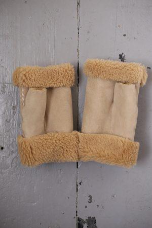 Toasties Women Gloves - Camel Shearling Fingerless Mittens