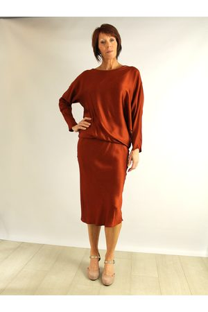 Roisin Linnane Hudson 3/4 Sleeved Drape Dress in Rust