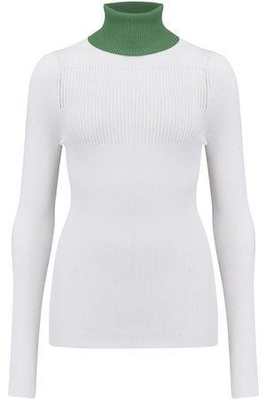 SMYTHE Turtleneck Pointelle Sweater in White/