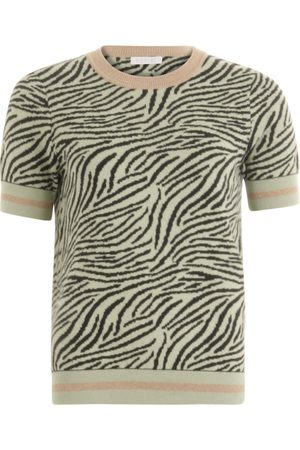Coster Copenhagen Short Sleeve Zebra Print Knitted Top - Sea Grass
