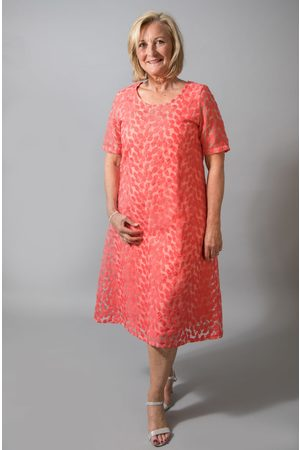 Out Of Xile LEAF EMBROIDERY DRESS TANGERINE