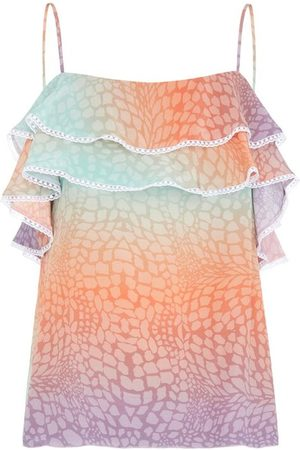HAYLEY MENZIES Frill Silk Cami - Ombre Croc Pastel