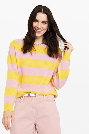 OTTOD'AME Ottod'Ame Striped Mohair Jumper in & Yellow