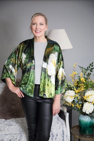 From My Mother's Garden VELVET REVERSIBLE KIMONO - WATERLILY
