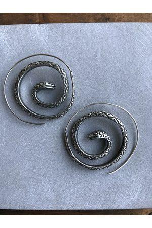 Collard Manson Oxidised 925 Snake spiral earrings