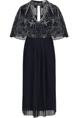 Frock and Frill Hilary Embellished Cape Sleeve Midi Dress with Pleated Skirt