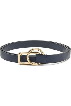 Anderson's ANDERSONS Slim Leather Circle Rectangle Buckle Belt - Navy