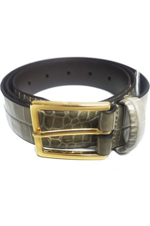 Anderson's ANDERSONS Crocodile Effect Leather Belt - Moss