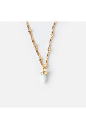 Orelia Luxe Short Spear Necklace - White Opal