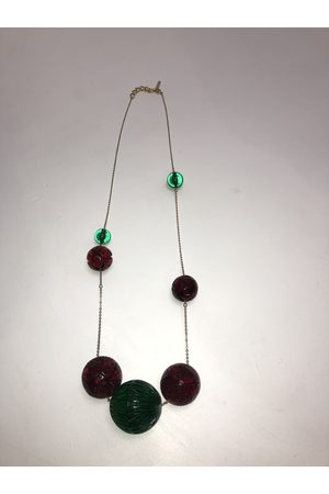 Douglaspoon Long Sphere Necklace in Amber + Green
