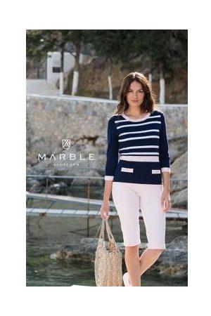 Marble 5603-120- Knit Contrast Stripe Jumper - Powder