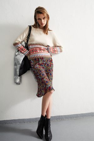 SET Women Printed Skirts - Midi Skirt with Minimal Floral Print
