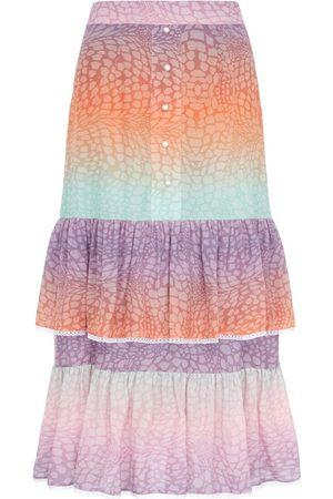 HAYLEY MENZIES Midi Frill Silk Skirt - Ombre Crocodile Pastel