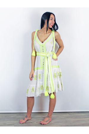 Pranella Embroidered Drop Hem Beach Dress Lime &