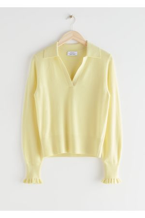 & OTHER STORIES Ruffled Wool Knit Polo Sweater